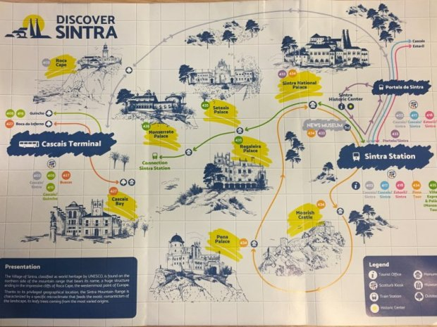 The palaces of Sintra by bus: Sintra bus map