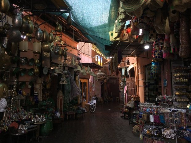 Typical alley in the souks of Marrakech