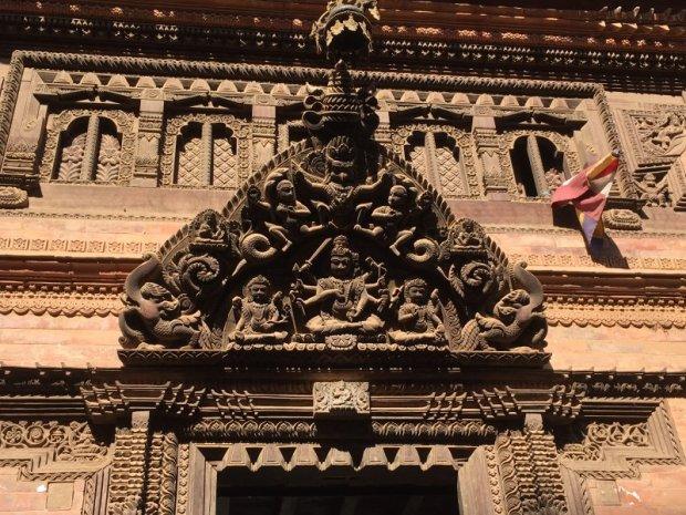 An old facade in Bhaktapur, Nepal