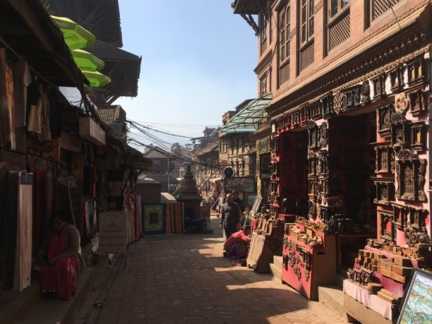 A quiet shopping street of Bhaktapur, Nepal