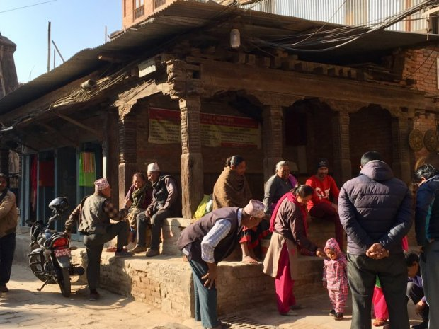 Nepal people: a family gathering on the square