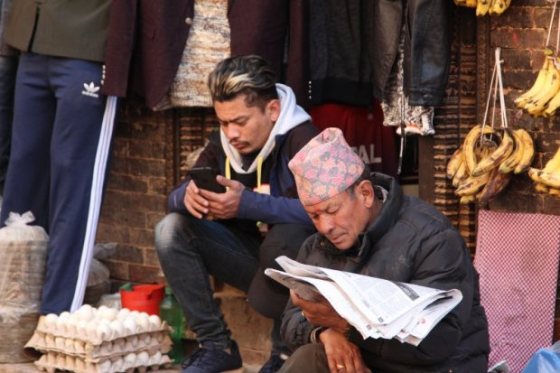 Old and modern meet in Bhaktapur
