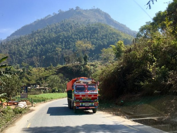 Driving in Nepal: a typical Nepal truck