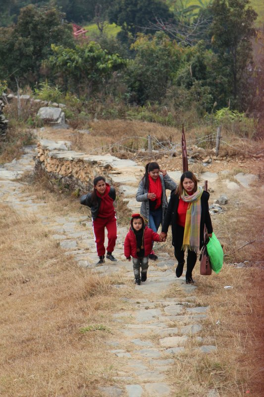 Locals walking from lakeside to Sarangkot