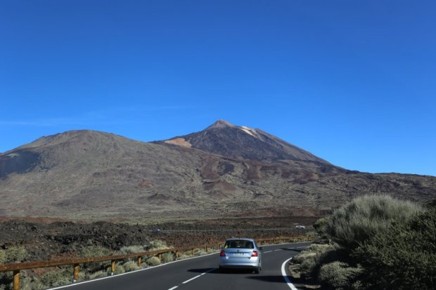Driving in the moon landscape of Mount Teide