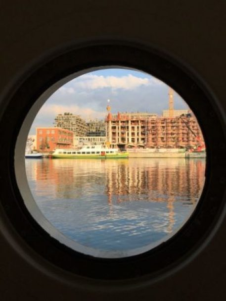 River cruising in Europe: Antwerp from barge window