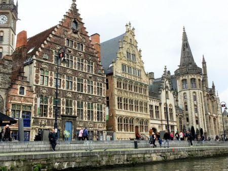 River cruising through Belgium and the Netherlands: Graslei, Ghent