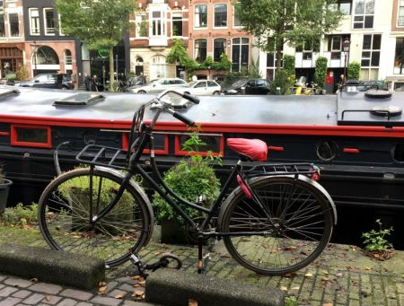 Amsterdam house boat and bike