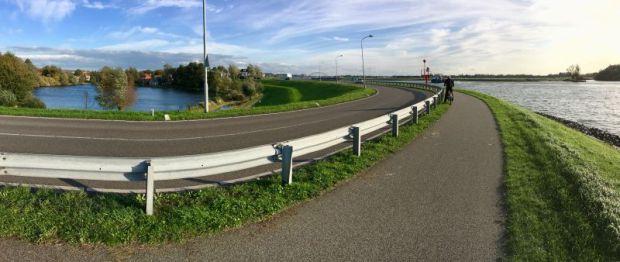 Riverside dike in Ablasserdam, Netherlands
