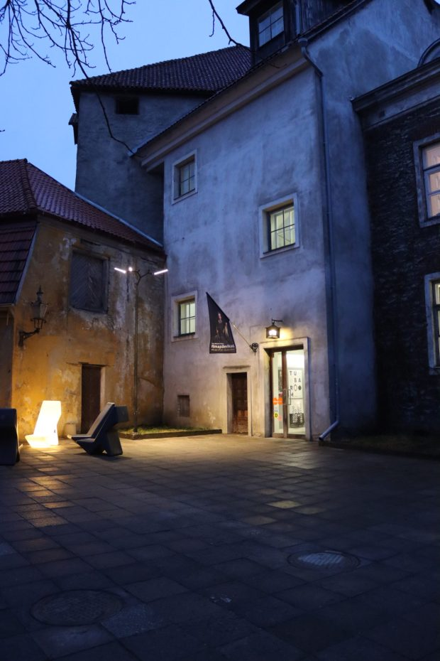 The blue moment on a Tallinn Courtyard