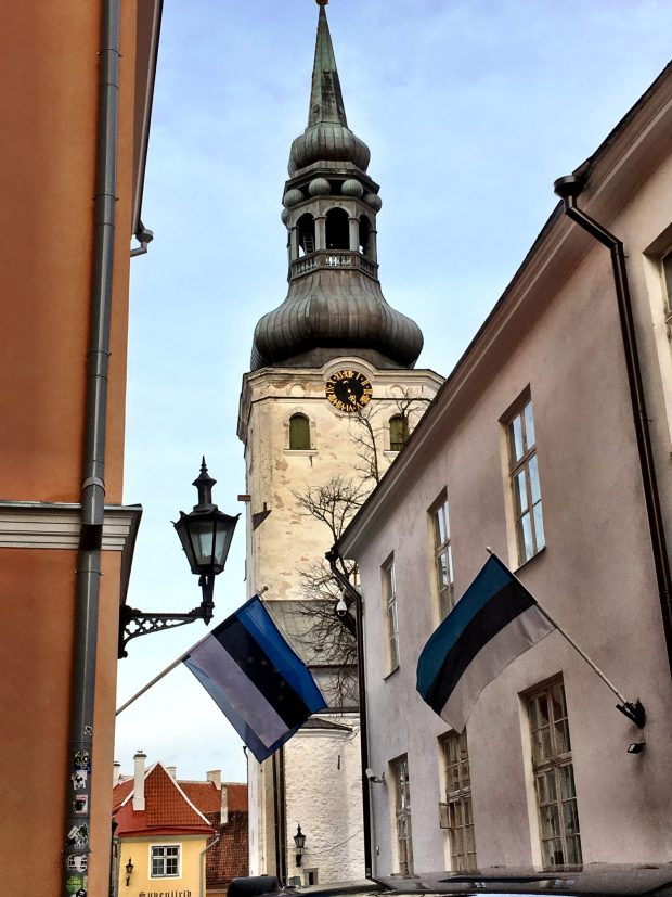 Tallinn Dome Church and Estonian flags