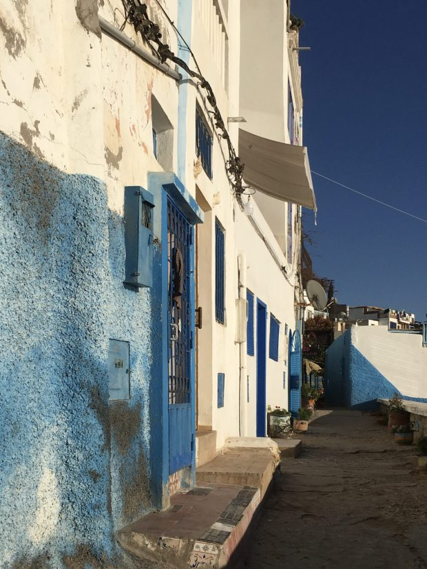 Blue and white colors of Taghazout, Morocco