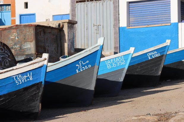 Blue Moroccan fishing boats in a row