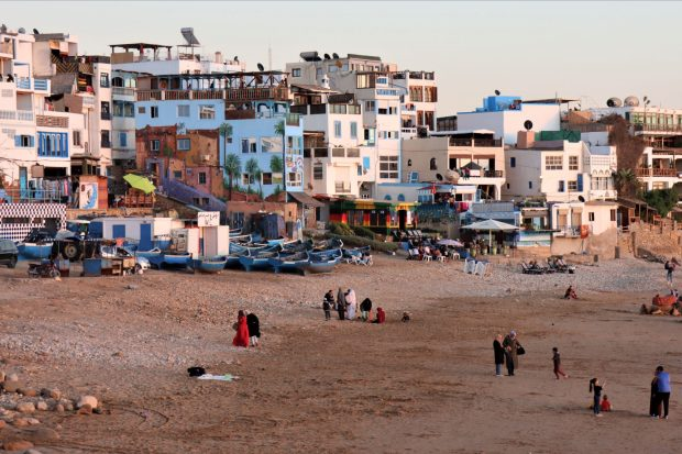 Taghazout locals on the beach