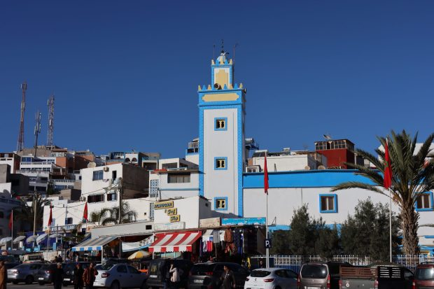A Moroccan blue and white mosque