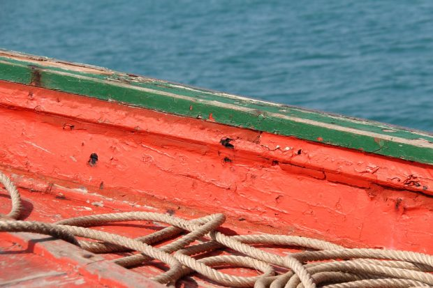 Strong colors of a Thai fishing boat