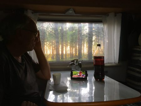 Motorhome travel: watching evening news