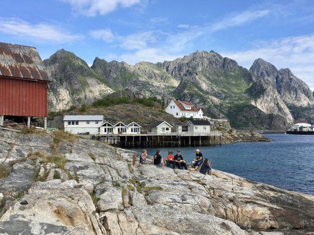 Henningsvær picnic on the cliffs, Lofoten Islands