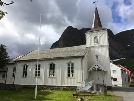 Scenic drive through the Lofoten Islands: Reine church