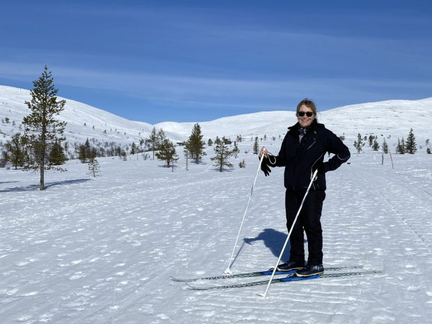 Skiing on snowy trails, Pallas, Lapland
