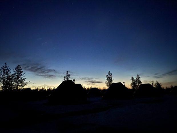 Northern Lights Village Levi after sunset
