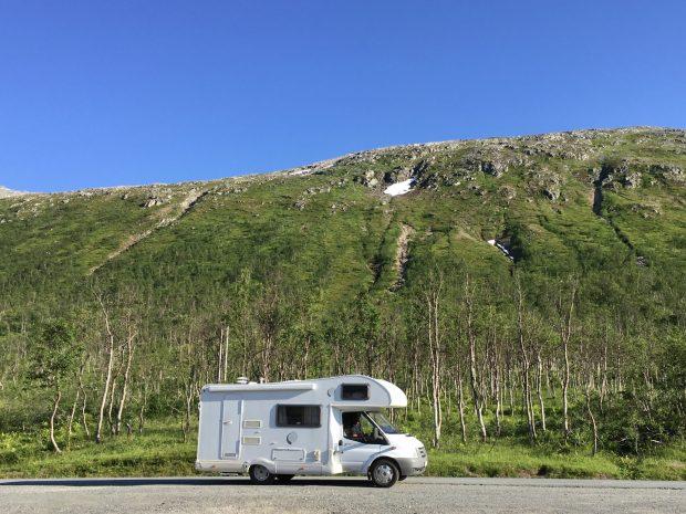 Norway by motorhome: driving through Kvaløya, Tromsø