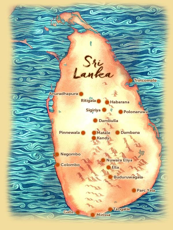 Carte des points d'intérêts au Sri Lanka - Les Routes du Monde