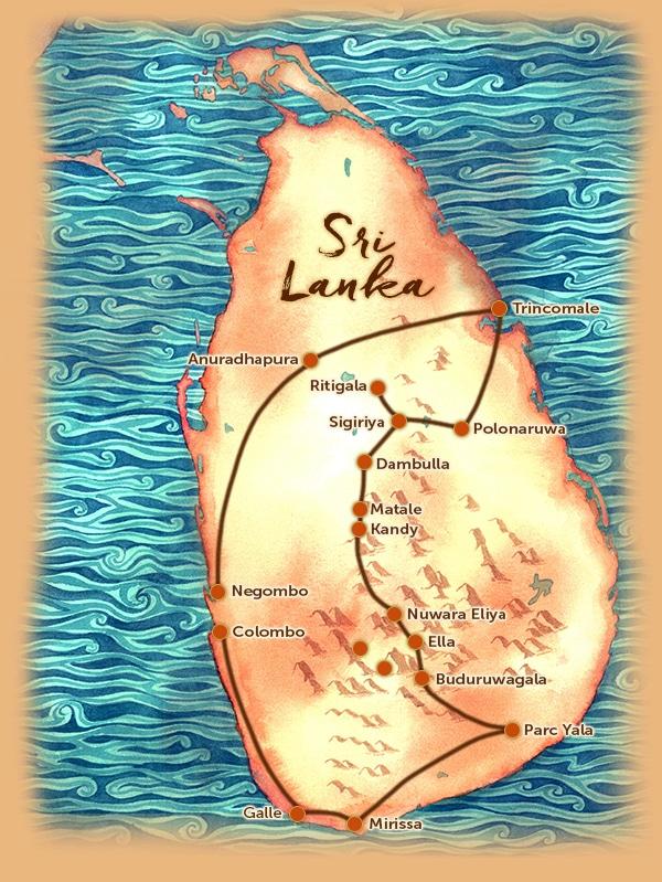 Carte du voyage sur mesure proposé au Sri Lanka - Boucle Nord au Sud - Les Routes du Monde