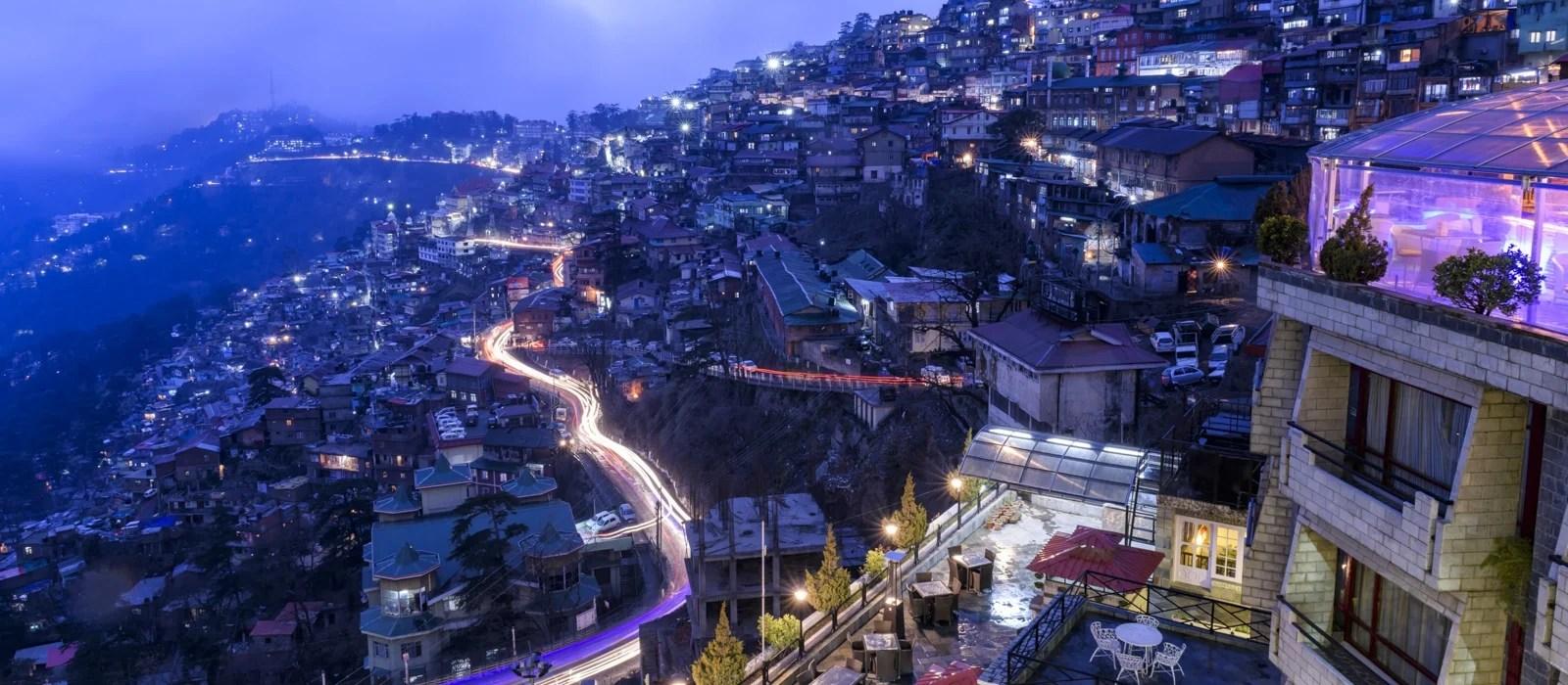 Couché de soleil à Shimla en Inde