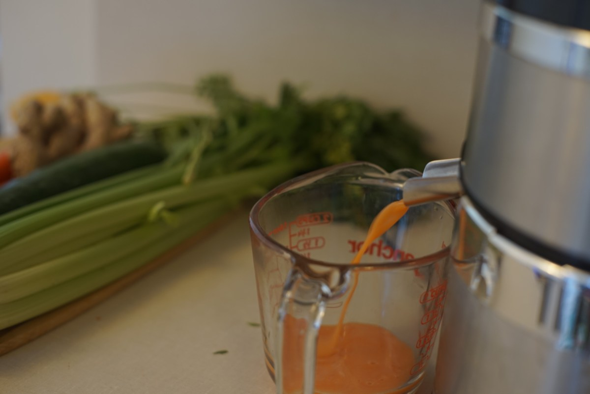 juice coming out of juicer for juice fast