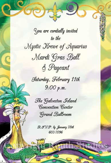 Mardi Gras Queen Invitations Routh Studios LLC