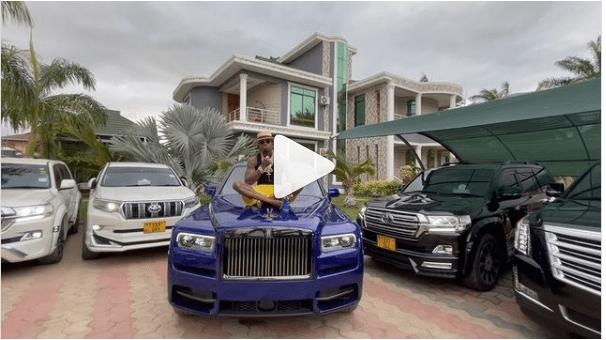 Diamond Platnumz seated on his brand new Rolls Royce Cullinan 2021