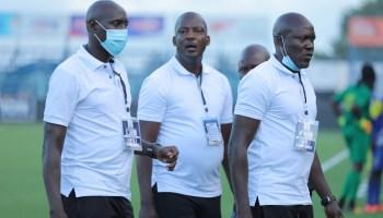 L-R . Sam Kawalya ( Goalkeeping Coach ), Wasswa Bbosa ( Head Coach ) and James Odoch (Assistant Coach).
