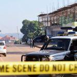 Police sealing off the bomb scene in Komamboga