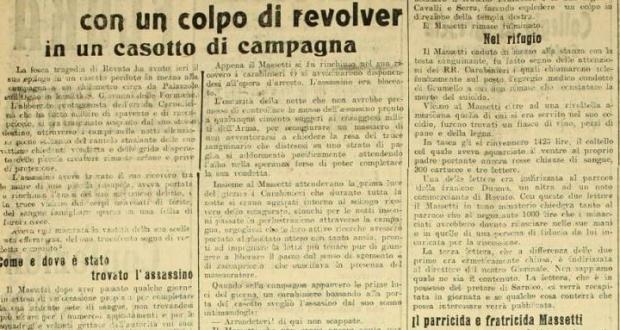 L'articolo del 1913 su Giuseppe Massetti