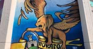 Uno dei murales al Palazzetto dello sport di Rovato, foto da pagina Facebook Comune Rovato