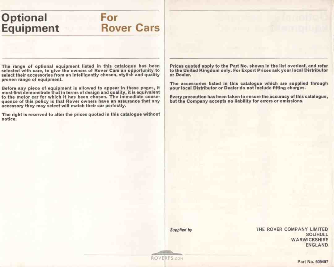 Literature Pack - 1968 - Optional Equipment For Rover Cars - Rear