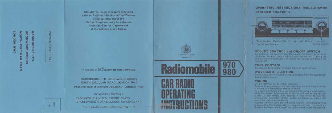 Literature Pack - 1968 - Radiomobile 970 980 Car Radio Operating Instructions Front