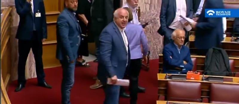 Έξαλλος Καραθανασόπουλος με το προεδρείο της Βουλής:«Ντροπή σας!»