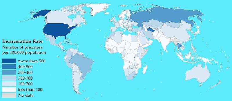 Ποσοστό κρατούμενων στον κόσμο