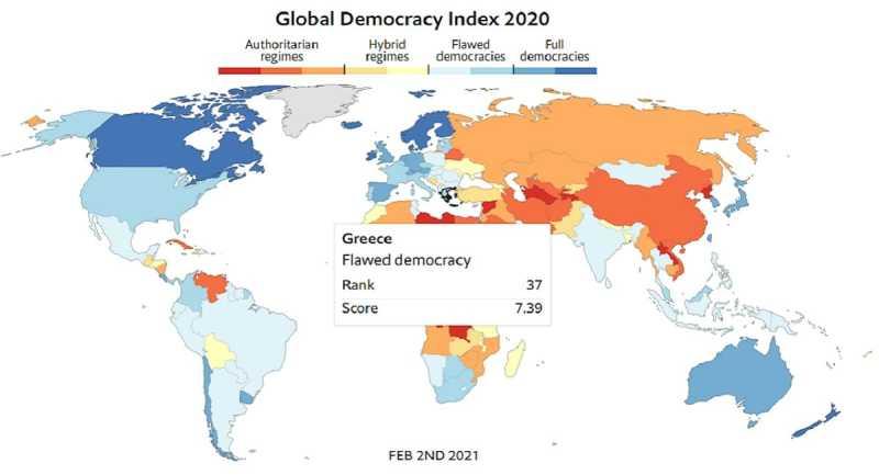 Economist: «Ελαττωματική δημοκρατία» η Ελλάδα για 2η συνεχή χρονιά