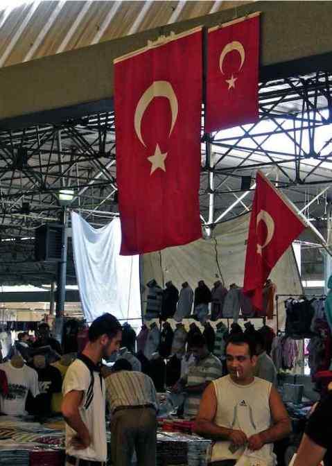 Interior of Bodrum Market / Pazar Turkey with Turkish Flags