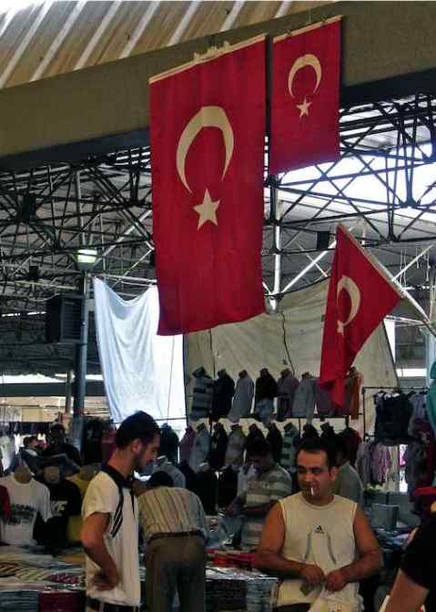 Interior of Bodrum Market / Pazar Turkey with Turkish Flags