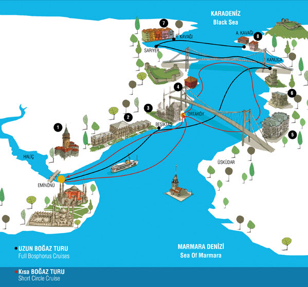 City Lines Istanbul Short Long Bosphorus Cruise Map Turkey