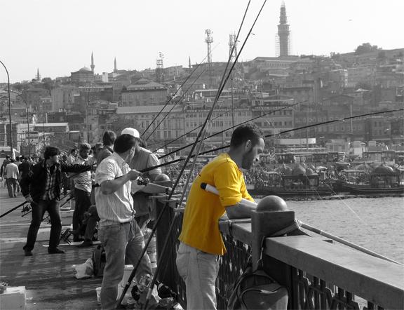 Galata Bridge Istanbul TurkeyBlack and White Photo with Yellow