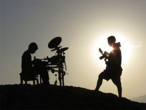 Beating drums on Santa Monica Beach
