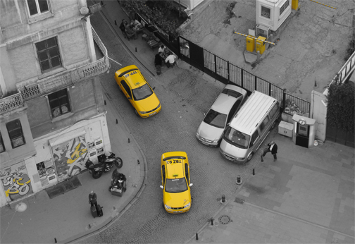 View from the top of Galata Tower Istanbul Turkey Black and White Photo with Yellow