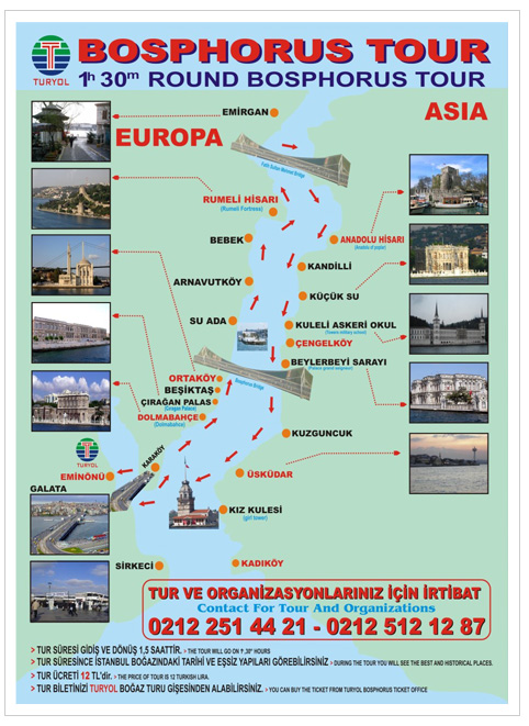 Turyol Bosphorus Tour Map and Itinerary Istanbul Turkey