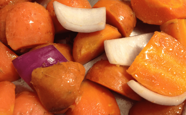 Carrots and Red Onion for Carrot Soup