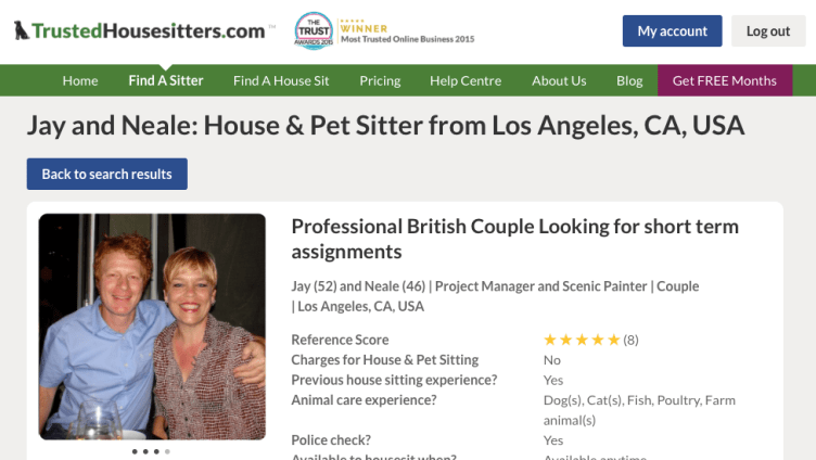 Our House Sitting Profile on Trusted House Sitters